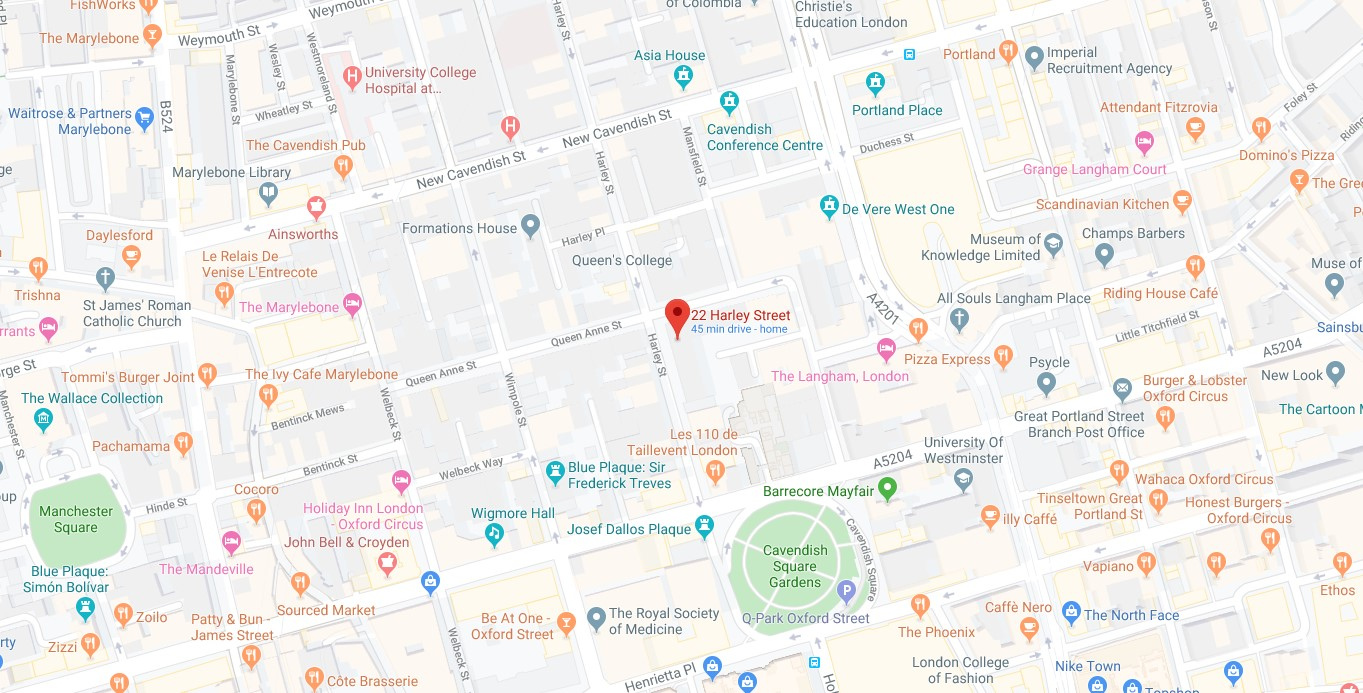 22 harley street map directions contact